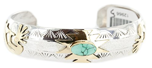 - Delicate $510Tag 12ktGF Silver Authentic Kokopelli Navajo Natural Turquoise Native American Bracelet