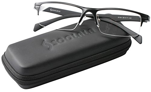 SOOLALA Mens Lightweight Aluminum Magnesium Optical Quality Semi-rimless Reading Glasses, Black, 2.25x ()