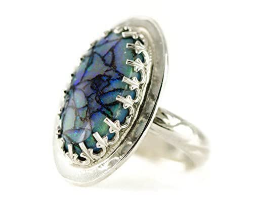 Amazon.com: Monarch Opal Ring - Sterling Silver - Cultured Opal ...