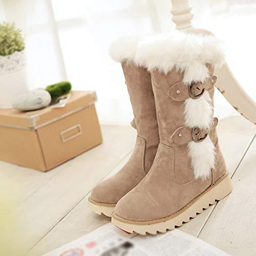 De Femme Chaud Tube Rond Botte Jiangfu D'orteil Boucle Garder Plat Bretelles Neige Mode Femmes Beige Velours Moyen Bottes Chaussures awA7x5qS
