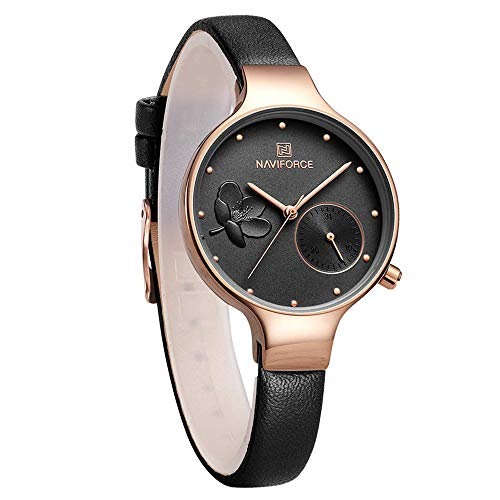 Black Watch Fashion Leather - NAVIFORCE Women's Quartz Leather and Alloy Fashion Watches, Black, Waterproof, Date, Color: Rose Gold-Toned