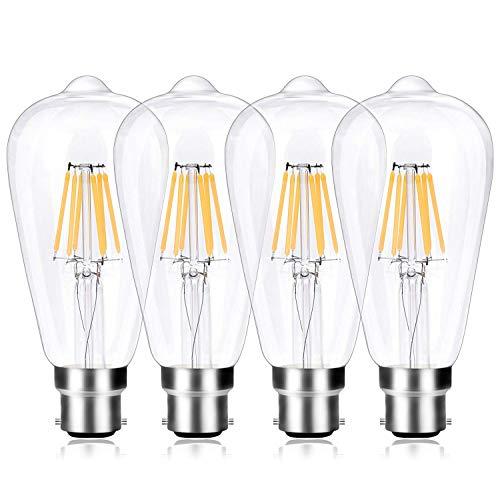B22 Bayonet Cap Edison Bulb, 6W LED Filament Vintage Light Bulb Energy Saving Bulb Warm White 2700K, Non-Dimmable, Clear Glass, 4-Pack ()