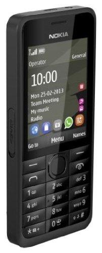 Nokia A00011072 301 Smartphone (6,1 cm (2,4 Zoll) Display, 3,2 Megapixel Kamera, Stereo FM, 64 MB interner Speicher) schwarz
