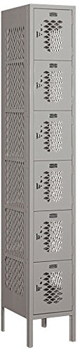 Salsbury Industries 76165GY-U Six Tier Box Style 12-Inch Wide 6-Feet High 15-Inch Deep Unassembled Vented Metal Locker, Gray (15 Inch Wide Lockers)