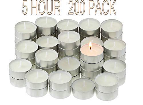 (CandleNScent | 5 Hr Tealight Candles | 200 Tea Lights | White | Unscented | Extended Burning time | Poured Wax)