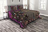 quilted picture board - Lunarable Easter Bedspread Set Queen Size, Wooden Board with Chocolate Eggs and Candies Rustic Festive Arrangement Picture, Decorative Quilted 3 Piece Coverlet Set with 2 Pillow Shams, Multicolor