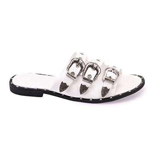 La Modeuse Brides Blanc en d'oeillets métalliques Ajustables Mules Boucles au Western et Similicuir dotées Style avec rrqwgC