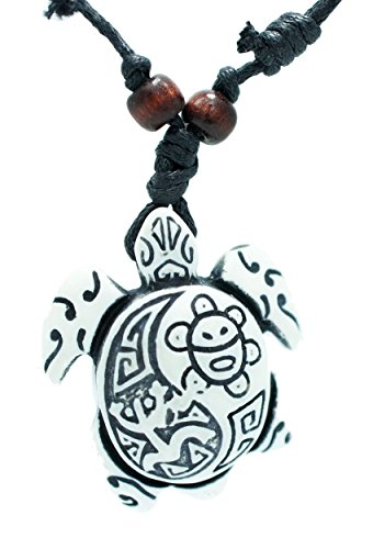 Exoticdream Turtle Necklace Yin Yang Coqui Taino Sun with Cotton Cord (Dog Wearing Turtle Costume)