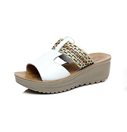 AJUNR Moda/elegante/Transpirable/Sandalias con 5cm de grosor con pendiente y arrastre la palabra bizcochos zapatos cómodos zapatillas blanco 37 39