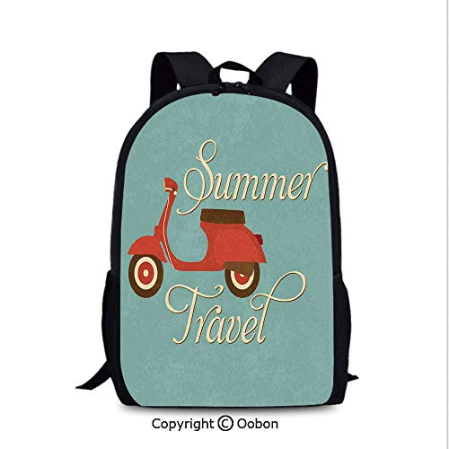 (Boy Girl Backpack, Summer Travel Scooter Vacation Vespa Classic Wheels Rock Cool Cycle Hippy Motorbike Decorative, School Bag :Suitable for Men and Women, School, Travel, Daily use, Multicolor )
