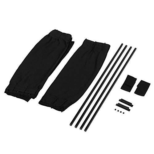 2 Pcs Black Adjustable Car Sun Shade Window Curtain Drape Visor Valance Curtain(Black)