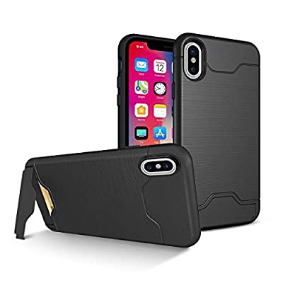 Vetullat Protection Case for iPhone X, Shockproof Case with Card Slot Holder and Built-In Kickstand - Black
