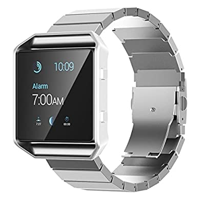Fitbit Blaze Band, No1seller Silver Stailess Steel Bracelet Band Strap Wristband for Fitbit Blaze Smart Fitness Watch - for Both Large and Small Size
