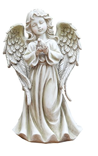 Napco 17909 Angel Girl with Dove Garden Statue, 12.25""