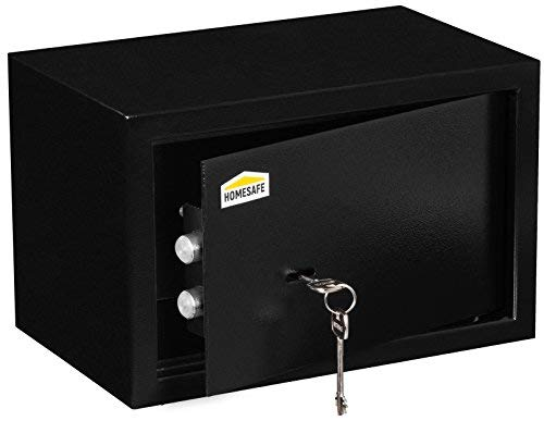 HxWxD Noir 20x31x20cm HomeSafe HV20K Coffre-fort avec Serrure de Qualit/é Sup/érieure /à Cl/é