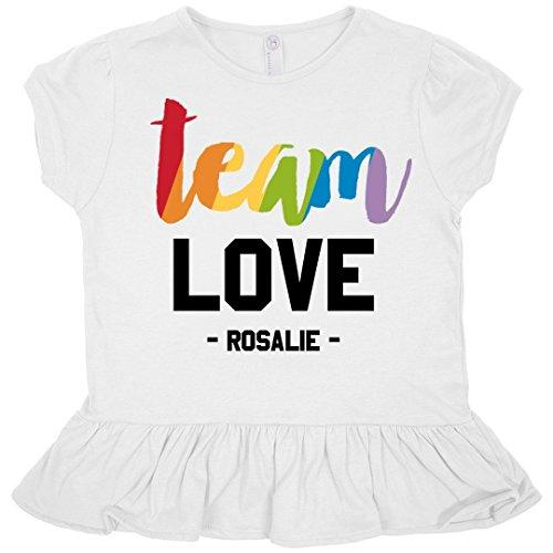 Rosalie Rainbow Team Love: Toddler Rabbit Skins Ruffle Fine Jersey - Rosalie Tee