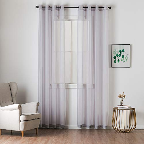 MIULEE 2 Panels Solid Color Light Grey Sheer Curtains Elegant Grommet Window Voile Panels/Drapes/Treatment for Bedroom Living Room (54X63 Inch)