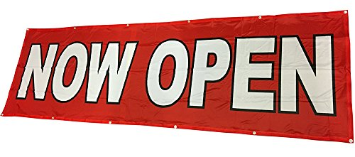 3x10 Ft NOW OPEN Banner Vinyl Alternative Store Sign (red) - Open Now Stores