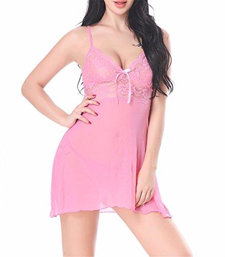 Yall Señoras Pijama Sling Pijamas Pijamas Transparentes De Malla De Encaje Pink