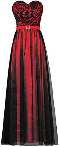 ANTS Women's Strapless Black Tulle Lace Evening Dress Long Prom Gown Size 2 US (Red Satin Strapless Dress)