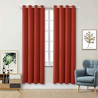 Tende Oscuranti Moderne per Finestre Camera da Letto Casa Interni,2 Panelli(117 x 182cm(L×A),Arancione)