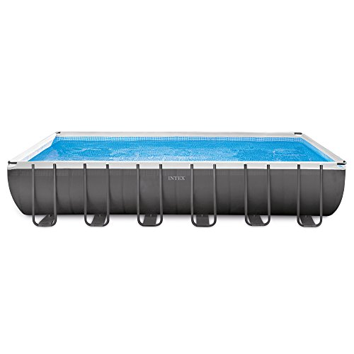 Intex 24ft X 12ft X 52in Ultra Frame Rectangular Pool Set with Sand Filter Pump & Saltwater System, Ladder, Ground Cloth, Pool Cover, Deluxe Maintenance Kit & Volleyball Set by INTEX