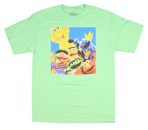 Sesame Street Shirts for Adults Group Color Photo T-Shirt (Large) Mint Green