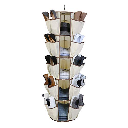 Smart Design 5-Tier Smart Carousel Organizer w/ 40 Pockets & Steel Metal Hook - 360 Degree Swivel - Heavy Duty Fabric - Clothing, Shoes, Misc. Item - Home Organization (13 x 51.8 Inch) [Beige] (Tool Design Closet Organizer Online)