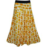 Mogul Interior Women's Summer Skirts Yellow Printed Flared Gypsy Skirt M/L