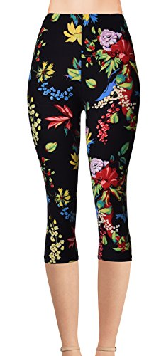 VIV Collection Plus Size Printed Brushed Capris (Wildflower)