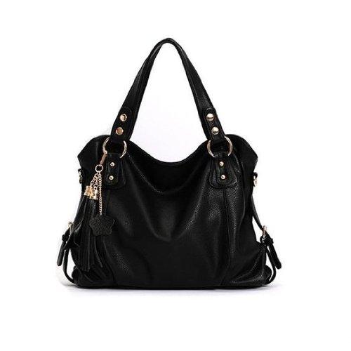 Veevan-lady Luxury Tassle Hobo Tote (black), Bags Central