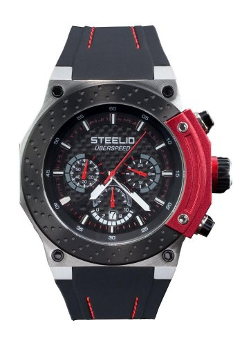 Steelio Men's Überspeed Retrograde Chronograph (Black-Red)