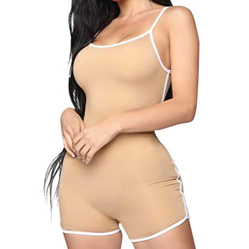 QIQIU Womens Solid Sleeveless Straps Playsuit Sexy Bodycon Sport Slim Fit Halter Short Summer Jumpsuit Playsuit Khaki
