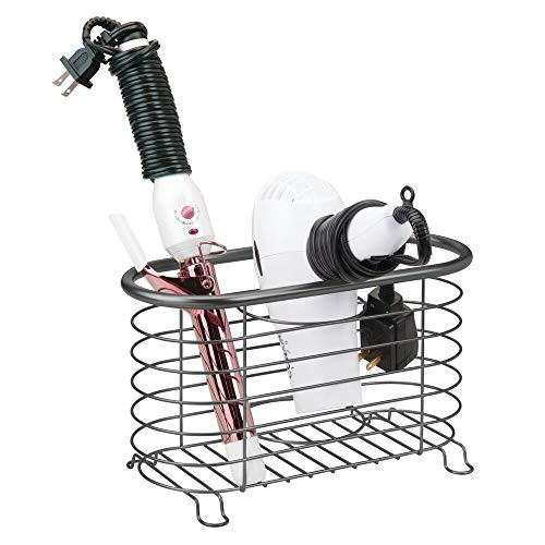 mDesign Metal Wire Hair Care & Styling Tool Organizer Holder Basket - Bathroom Vanity Countertop Storage Container for Hair Dryer, Flat Irons, Curling Wands, Hair Straighteners - Graphite Gray
