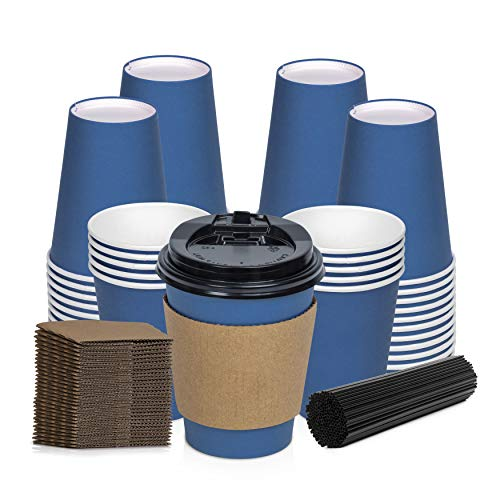 Savourio 12 Oz Disposable 100 Pack Stirring Straws, Lids, Hot Coffee Container - Blue Short Tea Go - Leakproof Paper Sleeves Cups, Sapphire