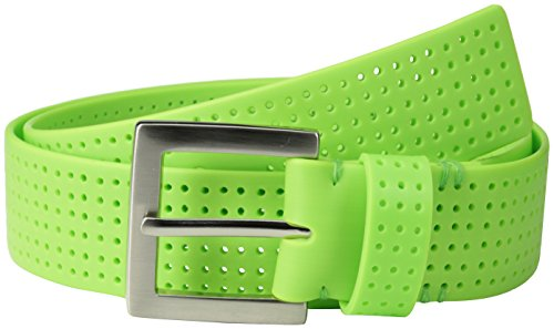 (PGA TOUR Men's Perforated Fashion Color Silicone Belt, Lime Green, 42)