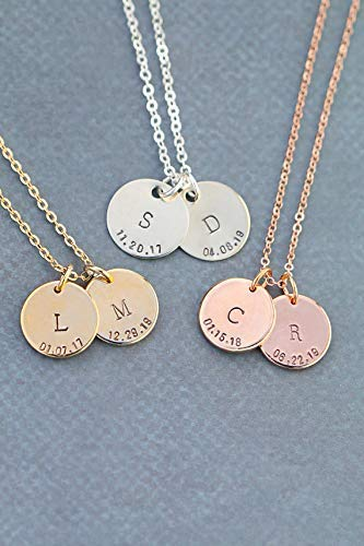 (Children's Initial Necklace - DII ABC - Mommy Handstamped Jewelry - Silver Rose Gold Charm Gift - Handmade Personalized - 5/8 Inch 15MM Discs)