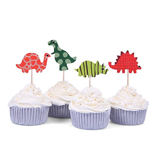 48 PCS 4 Patterns Dinosaur Cupcake Toppers Kids Party Favors - by Giuffi