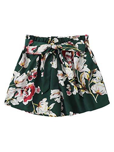 (SheIn Women's Tie Waist Inseam Pocket Side Plaid Shorts X-Large Green-Floral)
