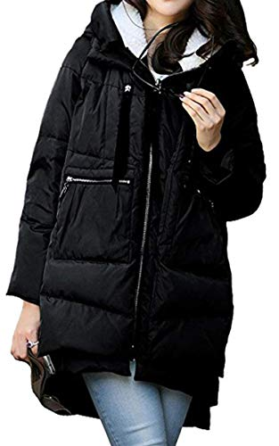 Moda Anchas Caliente Schwarz Espesar Elegantes Invierno Pluma Outerwear Larga Chaqueta Largos Parkas Manga Acolchada Retro Mujer Encapuchado Outdoor TSOvxwqz1x