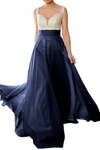 MACloth Gorgeous Long Prom Dress 2018 Straps Lace Chiffon Formal ...