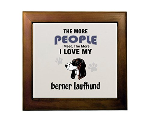 Price comparison product image BERNER LAUFHUND DOG The more people meet love my Ceramic Tile in Wood Frame