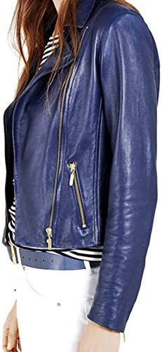 PRASTARA Women's Biker Lambskin Zipper Short Leather Jacket for Winter Cover Ups