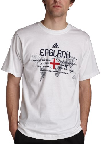 adidas Men's England World Cup Country Tee,White/England,Small (Adidas Cup World England)