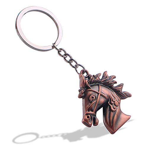 HXL Keychain,Horse Head Key Chain/Unisex Personality Keyring/Creative Fashion Pendant/Vintage Pants Chain/Waist Ornament/Gift (Color : Bronze)