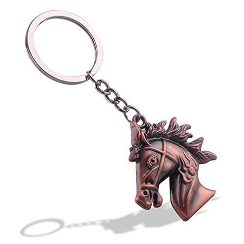 HXL Keychain,Horse Head Key Chain/Unisex Personality Keyring/Creative Fashion Pendant/Vintage Pants Chain/Waist Ornament/Gift (Color : Bronze) ()