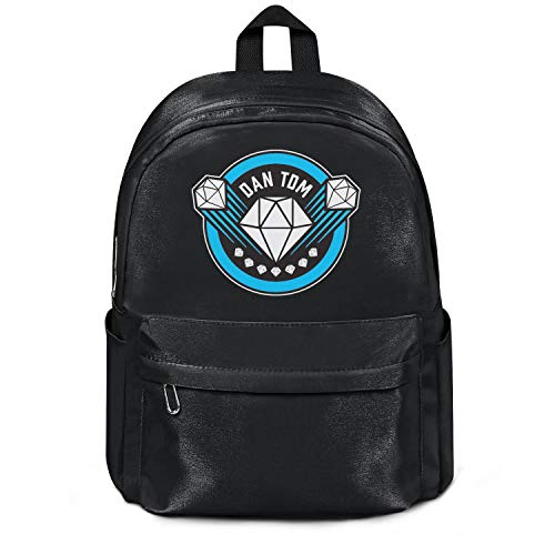Womens Girl Boys Bag Classic Nylon Water Resistant Travel Daypack Backpack DanTDM-Logo- College Bookbag Black