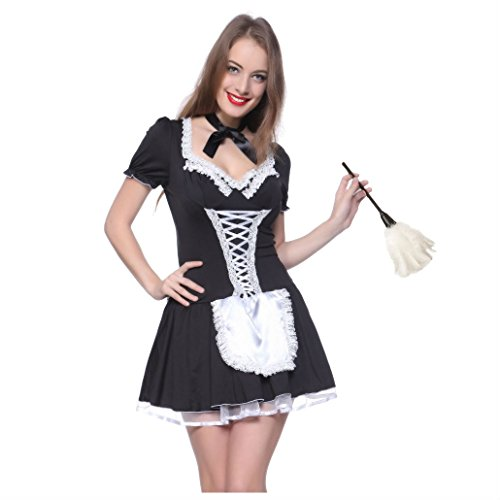 Naughty Ladies Maid Fancy Dress Halloween Cosplay Servant Lolita Costume (M)