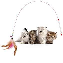 Tinksky Kitten Cat Pet Toy Wire Chaser Wand Teaser Feather With Bell Beads Play Fun Gifts (Random colour)