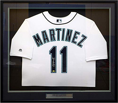 Seattle Mariners Edgar Martinez Autographed Framed White Majestic Cool Base Jersey Size XL MCS Holo Stock #123647